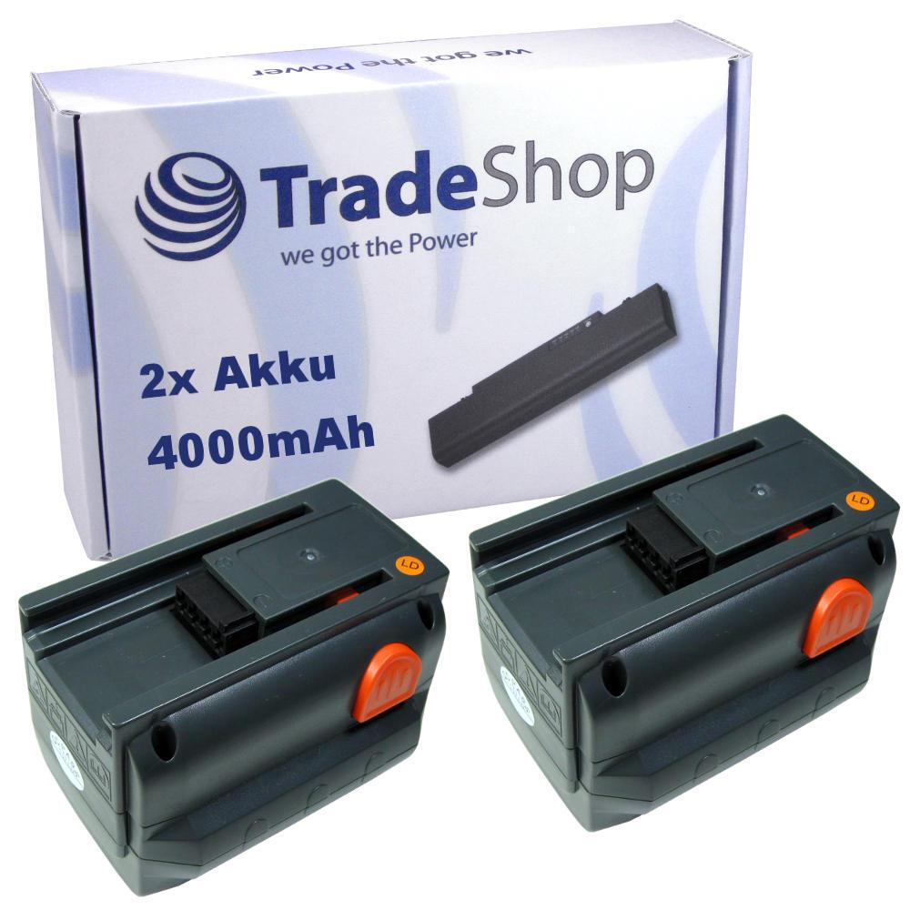 2x Trade-Shop Li-Ion AKKU 18V 4000mAh für Gardena Allround Bläser Accujet 18-Li