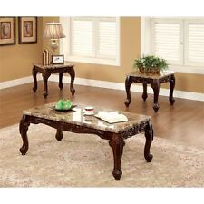 Coffee Tables And End Tables Sets 3 Piece Faux Marble Top Dark Oak Set Of 3