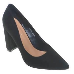 scarpe eleganti donna in camoscio nero con tacco doppio comfort e cuscinetto pla
