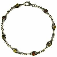 7 Inch/18cm Baltic Amber Sterling Silver 925 Ladies Bracelet Jewellery Jewelry