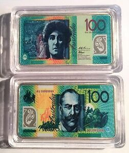 New-100-00-Australian-New-Note-1-oz-Ingot-999-Silver-Plated-Colour-Printed