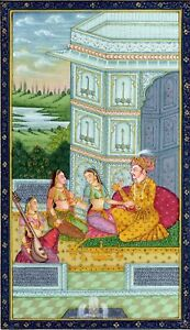 A-Man-Lovemaking-With-Two-Women-Mughal-Painting-Miniature-Art-On-Silk-Cloth