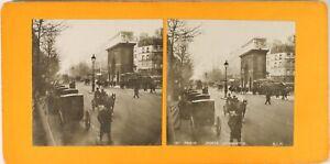 FRANCE-Paris-Instantane-La-Porte-Saint-Martin-Photo-Stereo-Argentique-1900