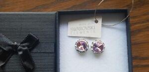 Genuine-Swarovski-Elements-Gift-Boxed-13mm-Light-Rose-Pink-Crystal-Stud-Earrings