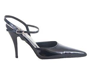 black ankle strap pointed heels