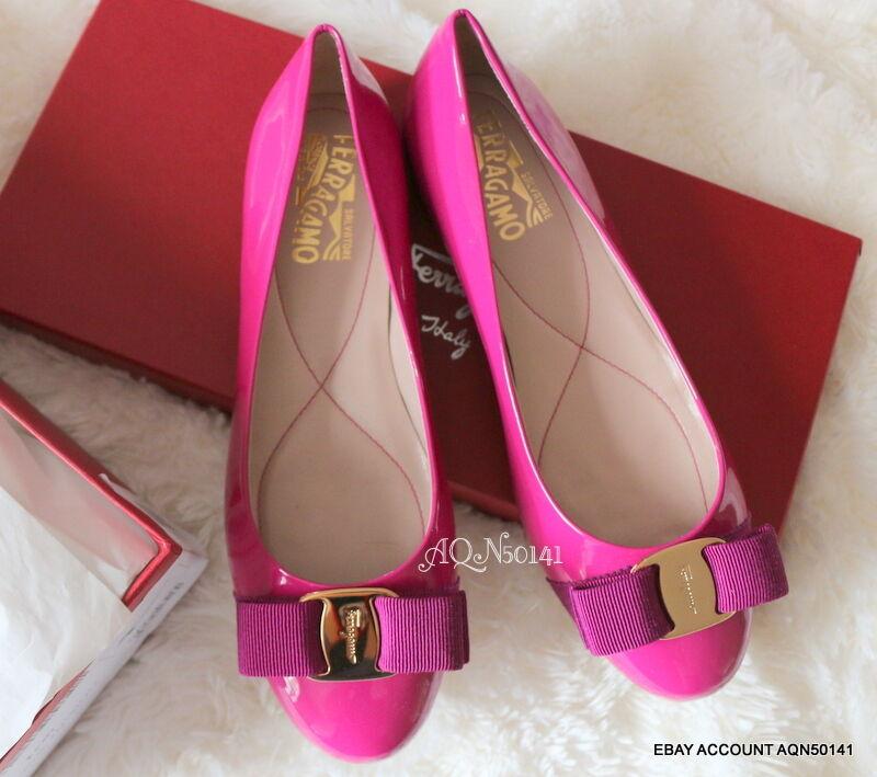 SALVATORE FERRAGAMO Varina Patent Pivoine Peony Pink Ballet Ballet Ballet Flats shoes 5.5 35.5 7af5a0