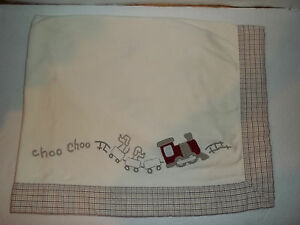 Gymboree Choo Choo Train Baby Blanket Baby Boy Cream Plaid