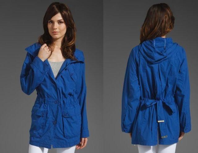 BNWT Juicy Couture Nautical Blue Garment Dye Parka Jacket Coat Size Petite