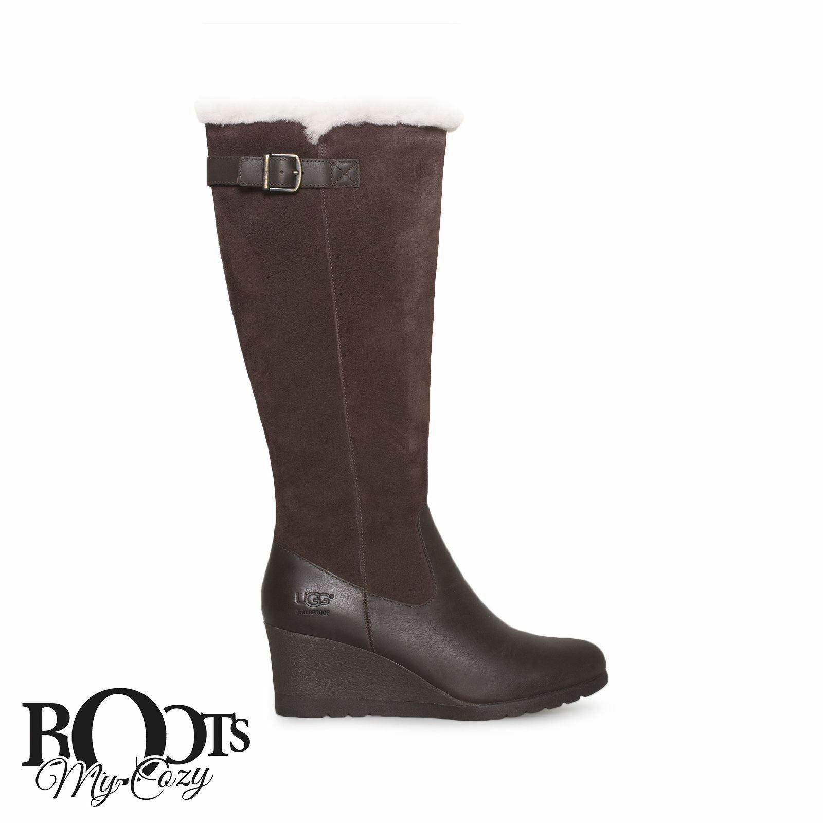 685a25ba744 UGG Mischa Stout Suede Sheepskin Tall Wedge Zip BOOTS Size US 8/uk 6.5/eu 39
