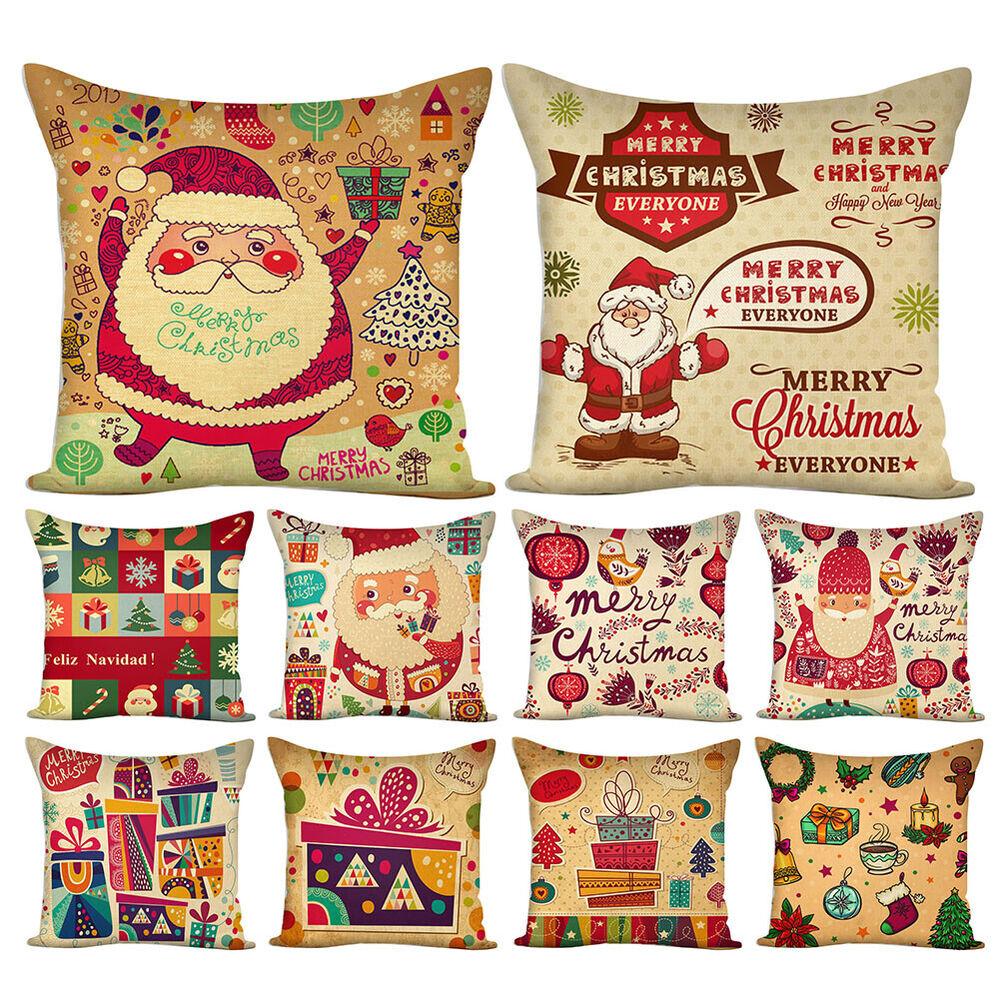 HK- BU_ Christmas Santa Claus Gift Pillow Case Colorful Cushion Cover Home Decor Home & Garden
