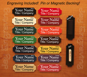 Custom Engraved 1x3 Name Tag / Employee ID Badge / Pin or Magnetic Backing / USA