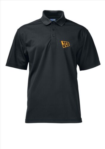 JCB Logo Left Chest Black Polo Shirts Embroidered Sizes S-4XL Black Non Iron