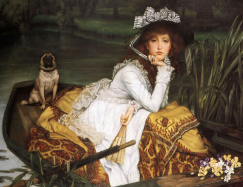 Lady In the Boat with Dog//Pug English Art Print//Victorian 17x22 Poster