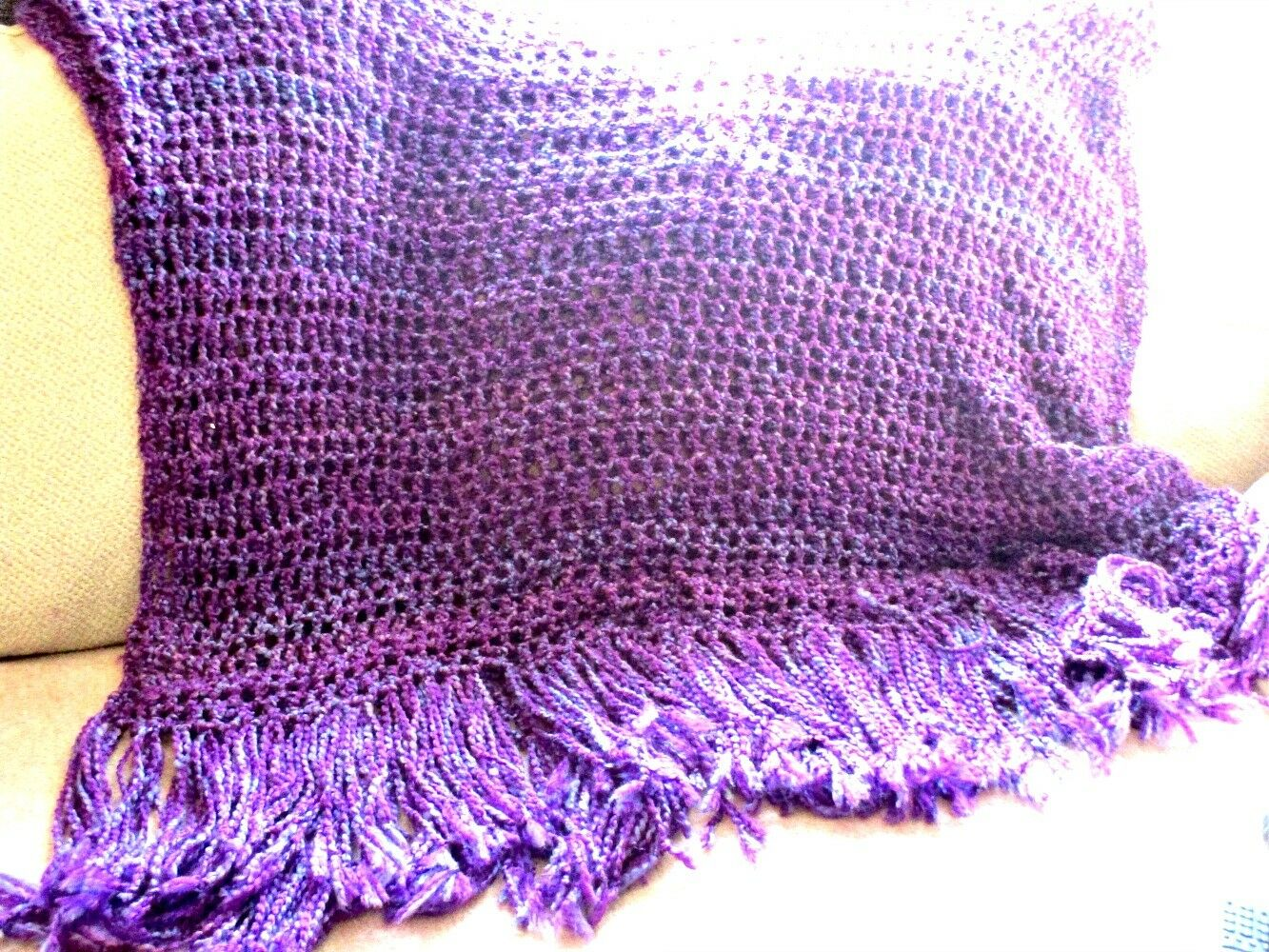 Throw Blanket Purple Afghan Handmade NWOT Afghan MADE TO ORDER Home Decor Accent