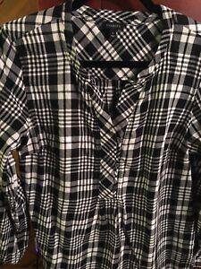 TALBOTS-Plaid-Flannel-Popover-Top-Women-039-s-M-1-2-Button-Shirt-Top-Black-White