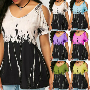 Plus-Size-Womens-Blouse-Cold-Shoulder-Ladies-Summer-T-Shirt-Loose-Casual-Tops