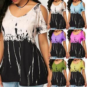 Womens-Boho-Printed-Short-Sleeve-Tunic-Cold-Shoulder-Top-Shirt-Blouse-Plus-Size