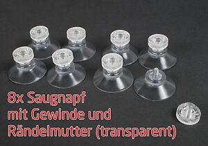 8-x-Stueck-Saugnaepfe-30-mm-Gewinde-Stift-6mm-M4-Raendelmutter-transparent-Saugnapf