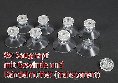 8 X Stück Saugnäpfe 30 Mm Gewinde-stift 6mm M4 Rändelmutter Transparent Saugnapf