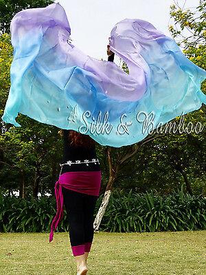 "9/'x45/"" purple-blue-turquoise 5 mommes belly dance silk veil+bag 1pc 2.7m*1.1m"