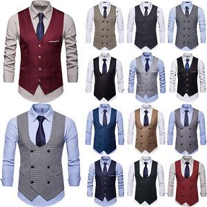 Mens Suit Vest Double Breasted Work Formal Dress Business Waistcoat Jacket Tops