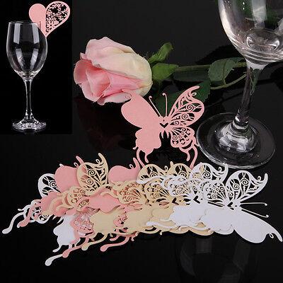 50PCS Love Heart Butterfly Place Escort Wine Glass Paper Card Wedding Party Bar