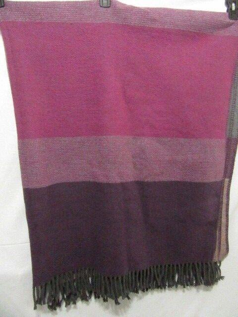 Linea Casa by Sferra Stripe Purple Grey 50 x 70 Fringed Throw Blanket