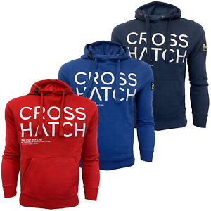 Mens-Sweatshirt-Crosshatch-Over-The-Head-Branded-Hoodie-Top-Fleece-Lined-New