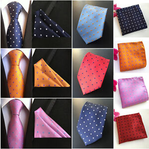 Men-s-Silk-Polka-Dots-Tie-Jacquard-Woven-Necktie-Pocket-Square-Handkerchief-Lot