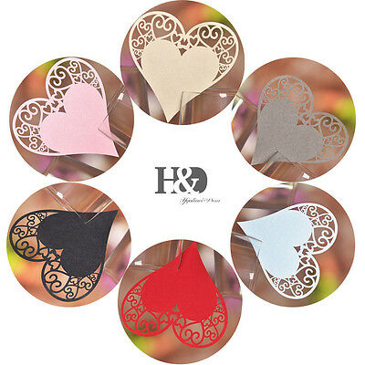 Vintage Heart Shaped Glass Place Cards Wedding Party Table Decoration Favours