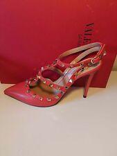 Valentino Coral Leather Rockstud Slingback 100MM Sandal Pump Shoe 38EU $1075
