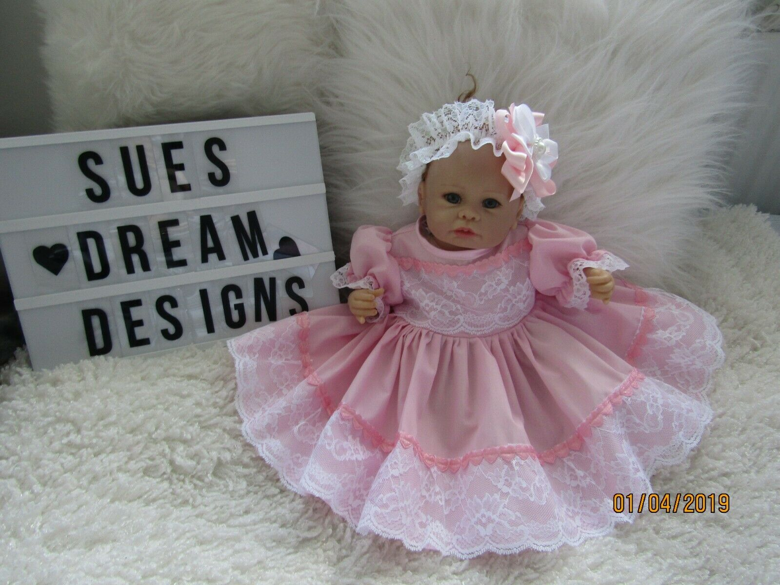 """CLOTHES FOR BAby Mary 0-3mths /REBORN 16"""" Two piece Pink/heart dress set"""