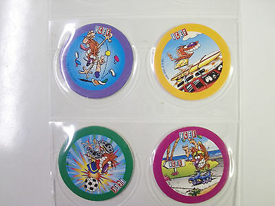 4 ICEE BY POG BLUE BACK NUMBERED 1-4   POGS//MILKCAPS SET OF ALL