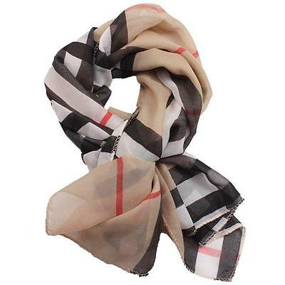 Fashion Women Soft Long Wrap Shawl Leopard/Stripe Print Chiffon Stole Scarves FW