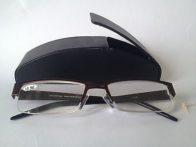 Supra Reading Glasses 55056 with Black Case +3.50 136mm, 15mm and 55mm