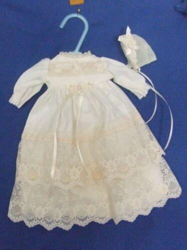 CUSTOM MADE CHRISTNING DRESS /& HAT FITS 10-12/'/' BABY DOLL
