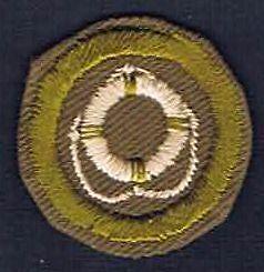 Lifesaving Type C 1936-1946 Narrow Tan Crimped Merit Badge 201209