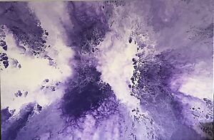 MODERN-ORIGINAL-ABSTRACT-CANVAS-PAINTING-PURPLE-WHITE-DEE-039-S-FUNKY-ART