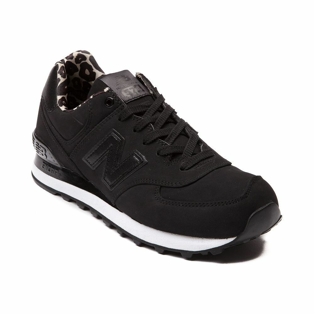 NEW Womens NEW Balance 574 High Roller shoes Black Monochrome LEOPARD SHIPS NOW