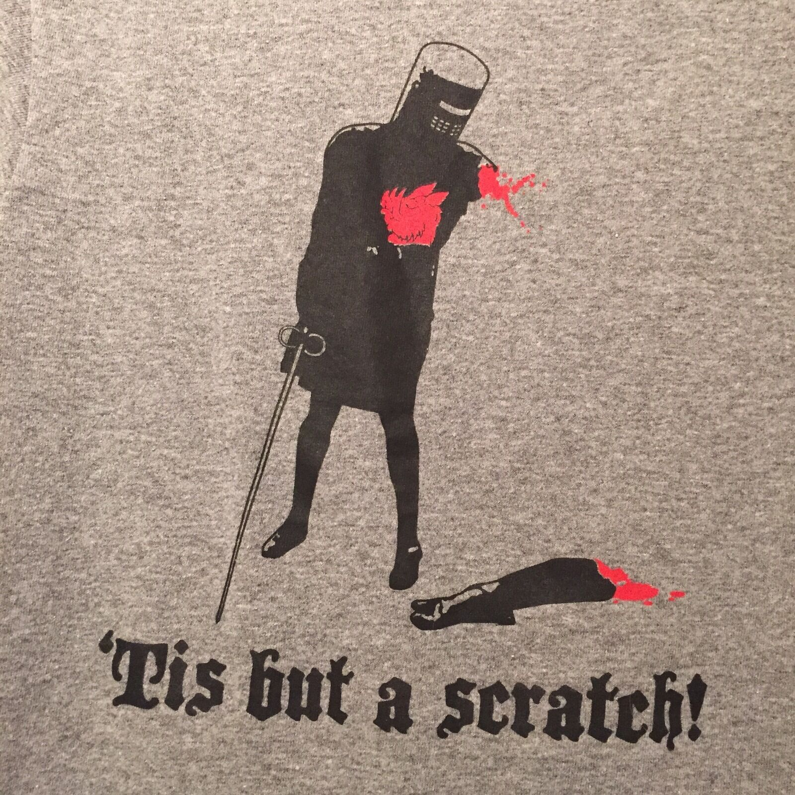 T-shirt - Monty Python Holy Grail Knight Tis But A Scratch  - grau Small S Delta