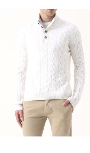 Pullover Gran Sasso uomo a lupo a2018 23151 in treccia lana cachmere bianco fw18
