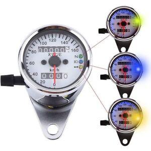 Universal-Motorrad-Tachometer-Tacho-Kilometerzaehl-Speedometer-Kontrollleuchten
