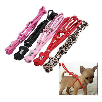 Step-in Pet Dog Puppy PU Leather Leash Lead Rope Harness Set Rhinestone Bone JS