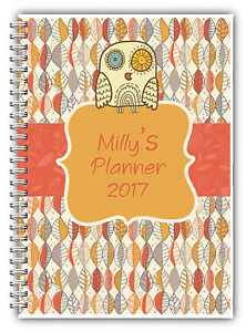 a5 personalised 3 monthly planner 2018 diary journal planner fun owl