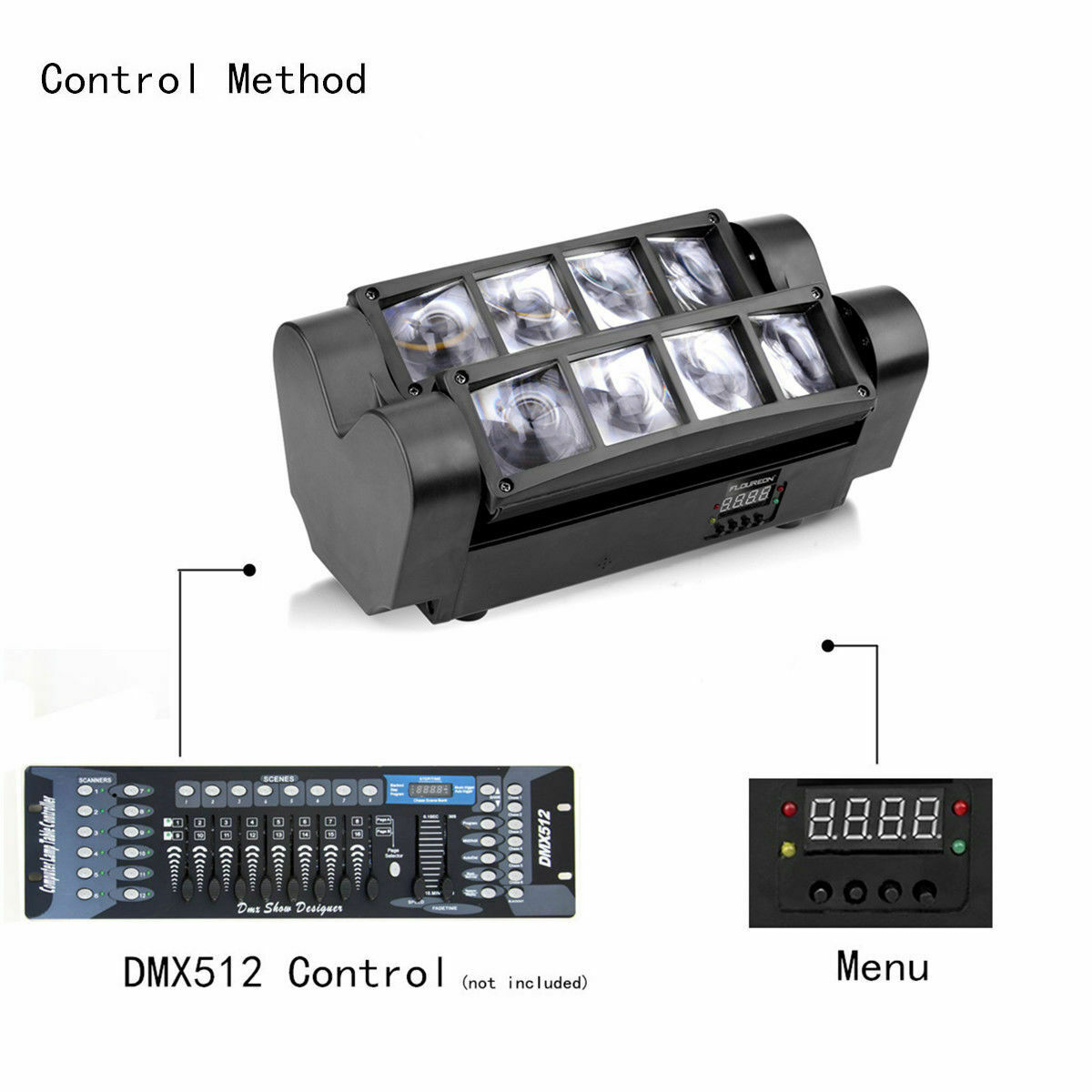 U`King 90W RGBW LED Spider Moving Head Bühnenlicht Beam DMX512 Bühnenbeleuchtung