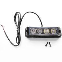 4 X Led Car Emergency Warning Lamb Dash Auto Light Grill Bar Police Strobe Wh&re