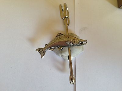 "F19 Large Salmon Kilt Pin Scarf Or Brooch Pin Pewter Emblem 3"" 7.5 Cm Perfect In Workmanship Pins & Brooches Jewelry & Watches"