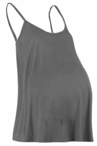 Womens Ladies Maternity Cami Sleeveless Swing Vest Strappy Plain Flared Vest Top