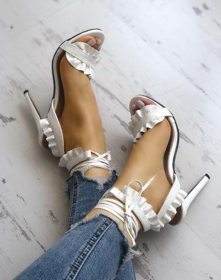Sandali stiletto tronchetto bianco lacci 12 cm  pelle sintetica eleganti 1293