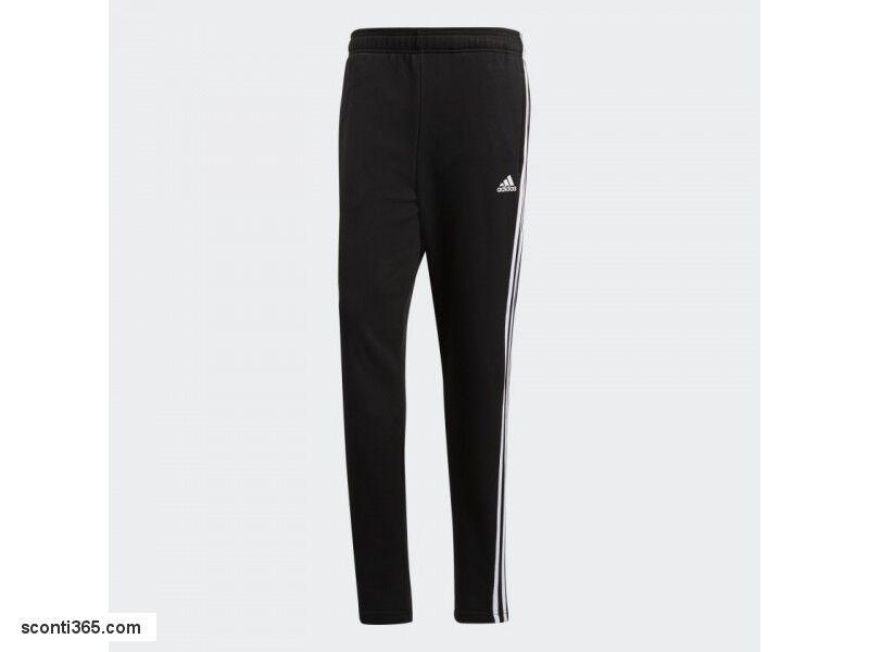 Adidas Pantalone Essentials 3 Stripe, Uomo Ragazzo - Art. BK7446 (Nero Bianco)